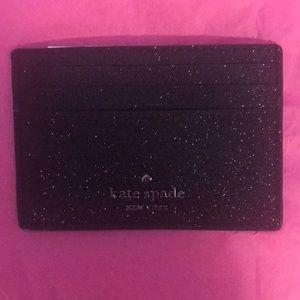 Kate Spade Black Glitter mini Wallet Card holder